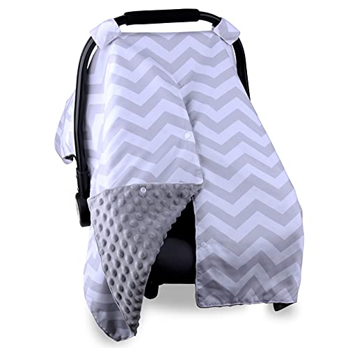 Baby Car Seat Covers for Boys Girls, Infant Car Seat Canopy for Babies,Peekaboo Opening Minky Nursing Cover Up for New Mom,Breathable Soft Carseat Cover, Blanket for Newborn Shower(Grey Stripe)