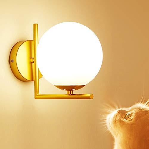 LED Apliques De Pared,Interior Dorada Minimalista Moderna Para Luz Pared,Elegante Redonda Cristal Forma Bola Redonda Lámparas de pared Metal Creativa Pared E27 Para Dormitorio Pasillo baño Espejo