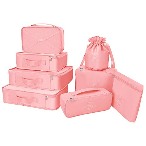 BETLLEMORY Packing Cubes 8 Sets Travel Luggage Organizers with Waterproof Shoe Storage Bag Compression Pouches(Pink)