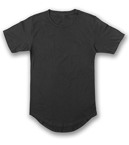 Men's Hipster Longline Drop Cut T-Shirts L Black AM1050