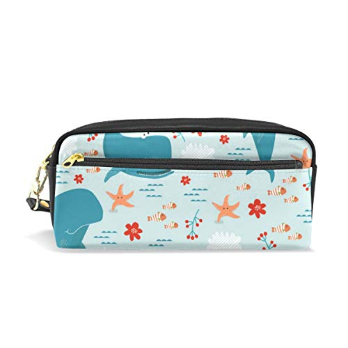 Rootti Ocean Animal and Flower Pattern Pencil Case Pen Bag Students Stationery Supplies Pouch with Zipper Cosmetic Makeup Bag Storage Bag Makeup Bag for Men Women