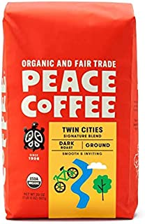Peace Coffee Twin Cities Blend, Dark Roast (Sumatra, Peru & Honduras Origins) Organic Fair Trade Coffee, Ground 20 oz. Bag