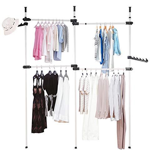 Ejoyous Kleiderstange Wandmontage, Teleskopstange Kleiderständer für Garderobe Offener Kleiderschrank mit 4 Kleiderstangen, Verstellbares Regalsystem, B (153.5-272cm) x H (281-329cm)