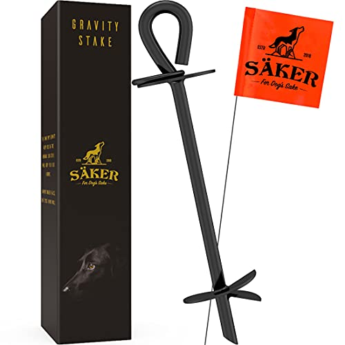 Säker Heavy Duty Tie Out Stake - Strongest Anchor Holds 2 Large Dogs Over 180lbs | Premium Dog Stake for Peace of Mind in the Yard, in Camping or at the Beach | Rustproof