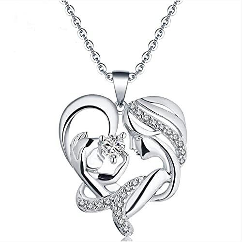 OADAA In Her Arms Collar Cherish Special Moments Mom Collares, Collar con Colgante de corazón Personalizado de Moda Regalo de joyería para Damas y niñas