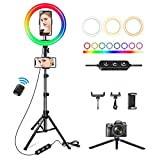 Weilisi 10' Ring Light with Stand 72'' Tall & 3 Phone Holders,42 Color Modes Selfie Ring Light with Tripod Stand,Stepless Dimmable/Speed LED Ring Light for iPhone & Android,YouTube, Makeup,Camera