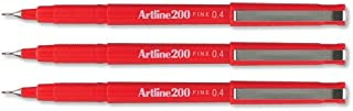 Artline 200 Fineliner Pen Water-Based Ink 0.4mm Tip 0.4mm Line Red Ref A2002 [Pack of 12]