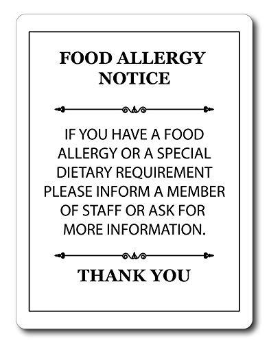 Maggie-mais Metaal Voedsel Allergie Veiligheid Kennisgeving Wit Aluminium A5 Size UK MADE Teken Plaque