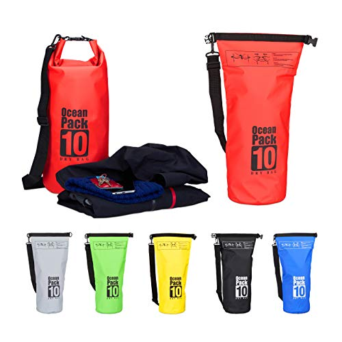 Relaxdays 10022783_47 Zaino Impermeabile Ocean Pack 10 L Borsa Stagna Dry Bag Sacca Ultraleggera per Kajak Vela Sci Rosso