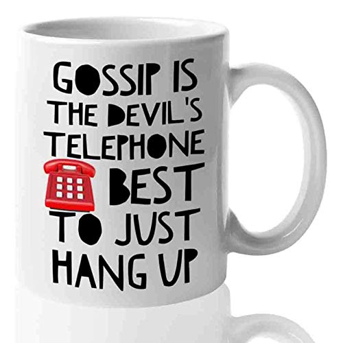 Schitts Creek Mug Gossip is The Devil's Telephone 11 oz TV Sitcom Comedy Mug, David Rose Alexis Moira Rose Coffee Mug Ceramic Novelty Tea Cup, Merchandise Gift Idea for Series Fans Men Womens Friends