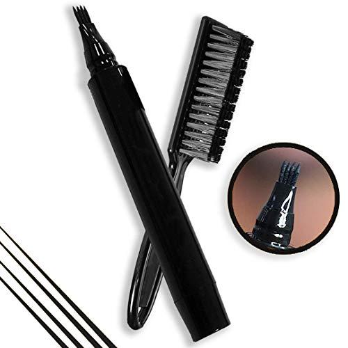 Kit de Relleno de Barba, Beard Pen, Cepillo de Barba Impermeable, Reparación De Bigote, Herramienta de Grabado de Pelo Facial para Salón