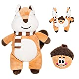 Dog Squeaky Toys - Interactive 2-in-1 Stuffed Plush Toys - Puzzle Dog Toys Cute Squirrel and Surprise Acorn Inside, Durable Tug and Fetch Toys for Small Dogs Chewer