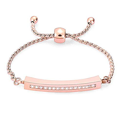 Hearbeingt Memorial Bracelet, Cremation Jewelry Urn Bangle for Ashes, Adjustable Classic Crystal Cremation Keepsake Ashes Holder Made of Stainless Steel with Free Fill Kit, Rose Gold