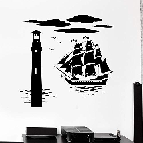 supmsds Schiff Leuchtturm Vinyl Wand Applique Meer nautischen Marinestil Aufkleber einzigartige Hauptdekoration DIY klebrige Wolke 60X58CM