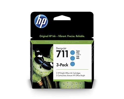 HP 711 Cyan 29-ml 3-Pack Genuine Ink Cartridges (CZ134A) for DesignJet T530, T525, T520, T130, T125, T120 & T100 Large Format Plotter Printers