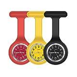 Nurse Watch,Nurse Fob Watch,Nursing Watch,Clip Watch,Lapel Watch,Nurse Fob Watch with Second Hand,Clip on Nursing Watch-Red Yellow Black
