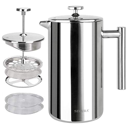 Lowest Price! Secura French Press Coffee Maker, 304 Grade Stainless Steel Insulated Coffee Press wit...