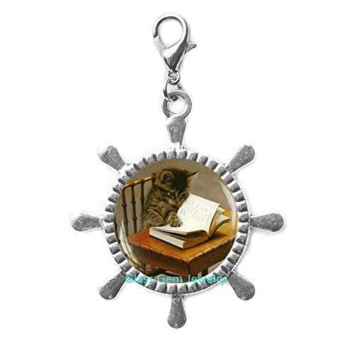 Q0089 libro de lectura para gatos, con cierre de cremallera, cierre de langosta para gato, corredor de gatos, corredor de libros, corredor de cierre, joyería para libros, regalo para profesor escritor, regalo bibliófilo, Q0089