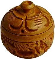 Sri Arundhathi Handicrafts Wood Kumkum Box (5 x 5 x 5 cm, Brown)