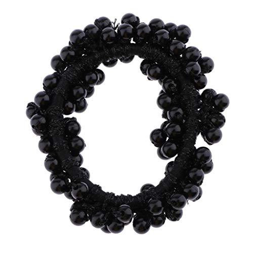 Hellery Elastisches Haargummis Perlen Zopfgummis für Damen und Mädchen - Schwarz