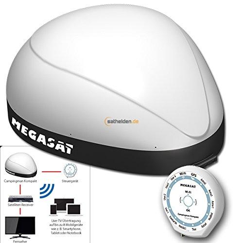 Megasat Campingman Kompakt TV on Air vollautomatische Sat Satelliten Antenne System Streaming Biz zu 8 Teilnehmer