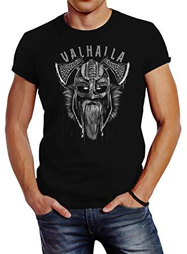 Neverless® T-Shirt Aufdruck Valhalla Wikinger Helm Viking Odin Krieger Printshirt Fashion Streetstyle schwarz 3XL