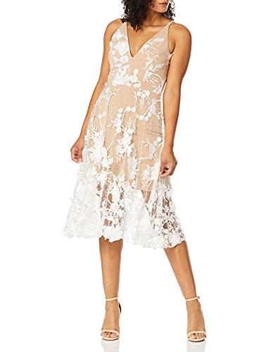 Dress the Population Women's Audrey Spaghetti Strap MIDI A-LINE 3D Floral Dress, Off White/Nude, M