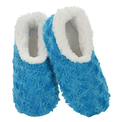 Snoozies Womens Slipper Socks - Cozy Slippers for Women - Fuzzy House Slippers for Indoor Use - Soft Sole Slippers - Roses in Bloom - Blue - Medium