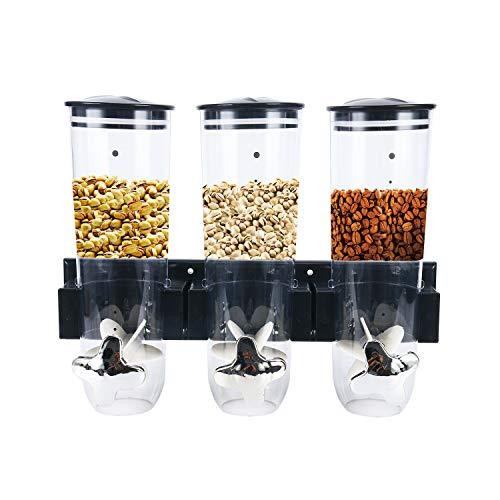 YaeKoo Dispensador Doble y Triple de Cereales muesli y Corn Flak dispensador con Botes de plástico Transparente para Mantener los Alimentos Frescos y Secos (Triple)