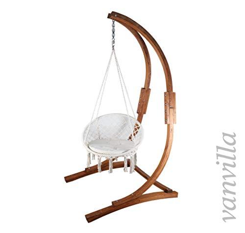 vanvilla Hängesessel mit Gestell aus Lärche Sitzauflage Weiss Holz teakfarben geölt Schwebesessel Hängestuhl