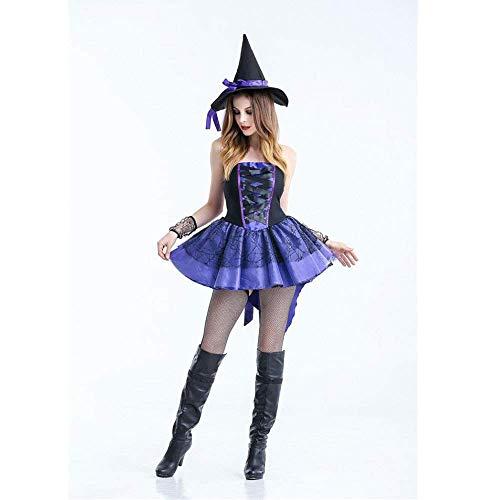 PIN Halloween Kostüme Damen Halloween Kostüm Hexe Makeover Party Vampir Spinne Hexe Prinzessin Kleid,XL