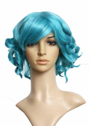 Prettyland Perruque Courte 30cm Bleu Turquoise Boucles Frisé Retro Manga Extraterrestre Femme Carnaval C299
