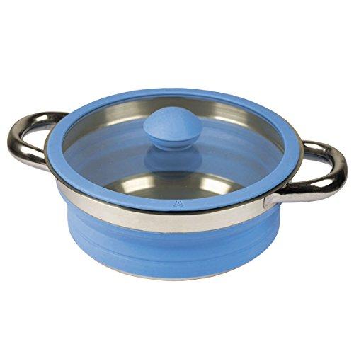 Falttopf faltbarer Topf leicht Silikon und Stahl Kochtopf in blau 2 Liter mit Glasdeckel Griffen - Kochgeschirr faltbar Camping, Geschirr, Outdoor Küche 2L - besonders platzsparend, Rostfreier Stahl.