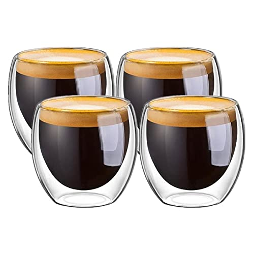 Mebix TRD Juego de 4 tazas para Café Espresso de 80ml | Vasos de Vidrio Doble Pared Transparente Con Aislamiento Térmico Ideal para Bebidas Frías y Calientes