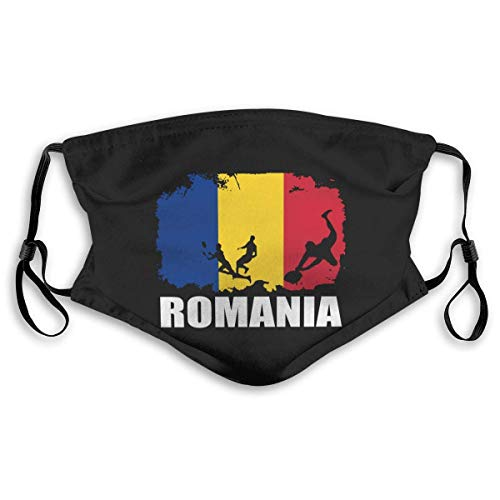 Romania Flag Football Rugby Filters Cover Unisex Reusable Face Covers for Camping (Cover+2pcs Filters) S