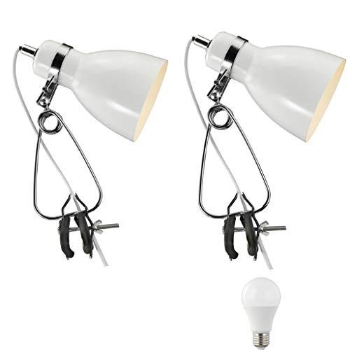 Nordlux Cyclone - Juego de 2 lámparas con pinza, estilo retro, color blanco y negro, incluye foco LED de 4 W, estilo vintage retro industrial, color blanco