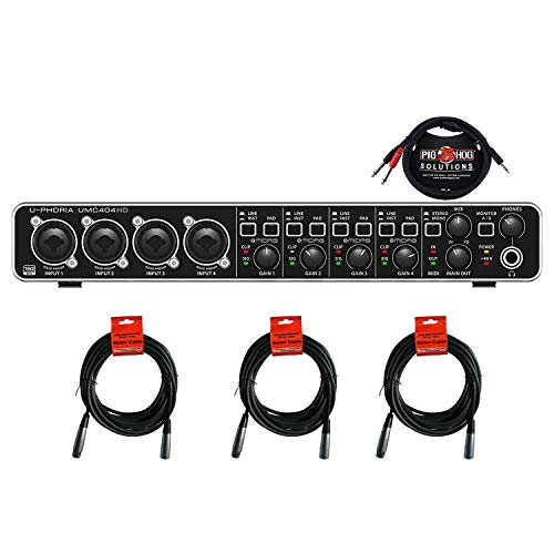 Behringer U-PHORIA UMC404HD Audio/MIDI Interface with MIDAS Mic Preamplifiers BUNDLE with 3 Senor 20' Microphone Cables and 1 x Pig Hog Stereo Breakout Cable