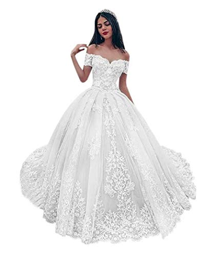 PD Women's Wedding Ball Gown Elegant Off Shoulder Sweetheart Appliques Lace Wedding Dress Bridal Gown White