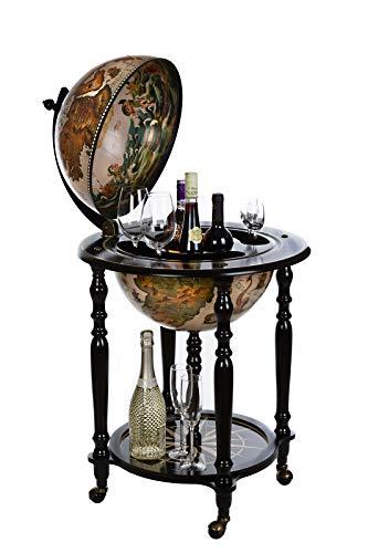 Birendy – Carrello da bar gigante con coperchio e ruote, mappamondo bar in 4 colori a scelta (nero bianco lucido)