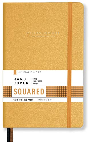 Minimalism Art, Premium Hard Cover Notebook Journal, Small Size, Classic 5 x 8.3, 122?Numbered?Pages, Gusseted?Pocket, Ribbon Bookmark, Extra Thick Ink-Proof?Paper?120gsm (Squared, Amber)