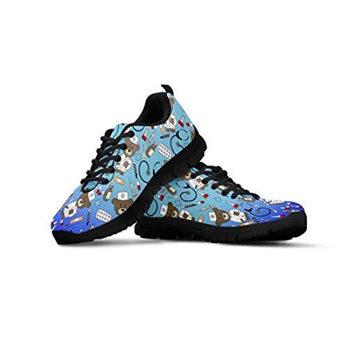 Agroupdream Casual Gimnasia Ligero Sneakers Zapatillas de Deportivos de Running para Mujer Muchachas Adolescentes Malla Jogging Correr Calzado Enfermera Oso Azul 36