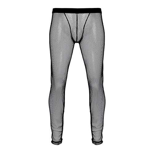 iiniim Pantalones Largos de Malla Transparente Hombre Sexy Ropa Interior Suave Pantalon Malla Abierto Erotico Ropa de Dormir Chico Pantalones de Pijama Leggings Elastico Negro Medium