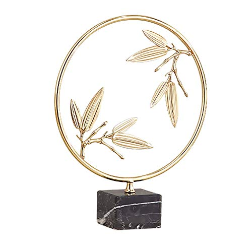 zjyfyfyf Brass Bamboo Leaves Statues Ornaments for Home Office Decorations Living Room Bedroom