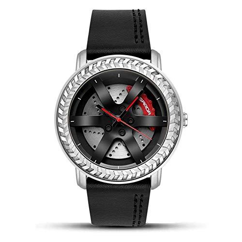 AYDQC Reloj Digital Resistente al Agua Hombres 3D Tridimensional Hueco del diseño del Reloj Deportivo for Hombre con Correa de Cuero multifunción Choque Cronómetro Resistente, Plata fengong