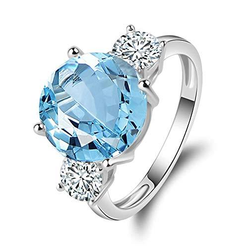 AnazoZ Anillos Compromiso Mujer Solitario,Anillos de Plata Mujer 925 Redondo 11X11MM Topacio Azul Blanco Anillo Plata Zafiro Azul Talla 22