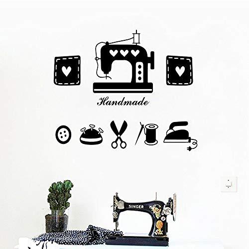 JXMK kleermakerij wandtattoos vrouw kamer wooncultuur naaimachine ijzer schaar vinyl wandsticker kleding winkel decor wandsticker 129x110cm