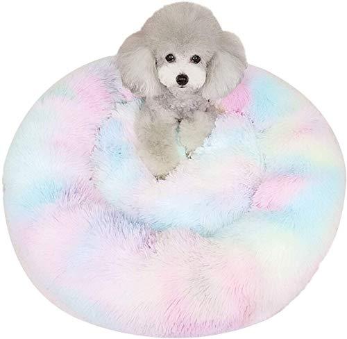 YLCJ honden-/kattenpuppyup, rond, warm, zacht, slaapbank, orthopedische en betere nachtrust, 70 cm, 60cm, Mixedcolor