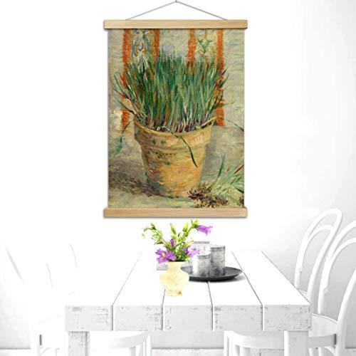 DDTing Berühmte Ölgemälde Kunst – Van Gogh Wandkunst Ölgemälde – Modernes Blumenmuster Giclée-Kunstwerk Bilder für Home Office Dekorationen goodService Blumentopf mit Schnittlauch 30 x 40 cm
