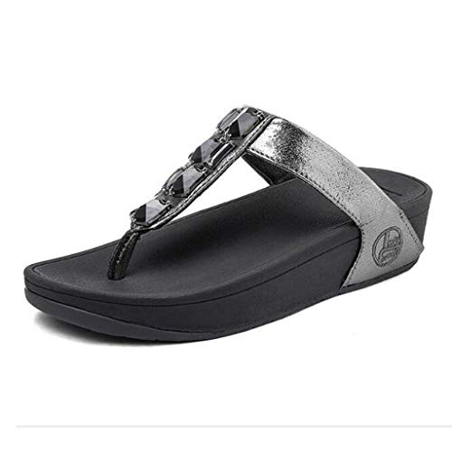 LYJBD - Barstools Womens Wide Comfortable Cloth Strap Flip Flops with Arch Support Rhinestone Decoration Slip on Slippers- Best Orthotic flip Ideal for Summer Travelling