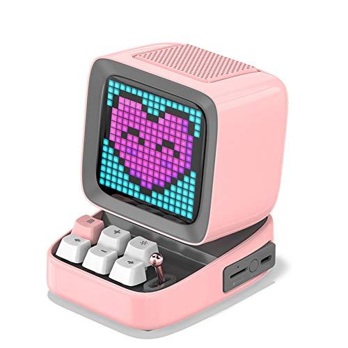 Pixel Retro Altavoz inalámbrico Bluetooth Mini subwoofer portátil Audio pequeño Multifuncional Reloj Despertador doméstico pequeño 90x113.8x121.2mm,Rosado